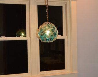Vintage Glass Fishing Float Light Fixture With By