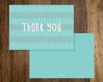 Folded Thank You (A2) - Mint/Pink/White Lines