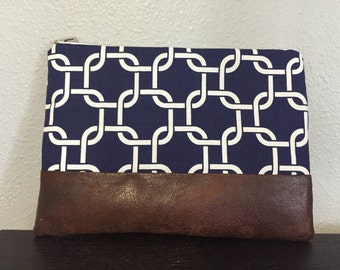 Clutch - Navy and Chocolate