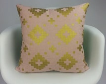 Pink gold cushion cover | Geometric cushion cover | Made out of organic fabric | Sewn by Yulki's Home Decor | Custom size cushion cover