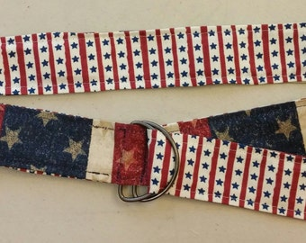 Reversible fabric belt - patriotic, 4th of July