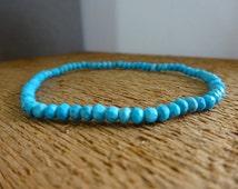 Genuine Turquoise Bracelet, Mens bracelet,  Beaded bracelet, Mens jewelry Gift for him