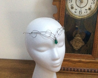 Silver elven circlet with green crystal. Silver celtic circlet, princess, fairy, fae crown