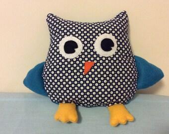 owl Blue polka dot plush stuffed animal