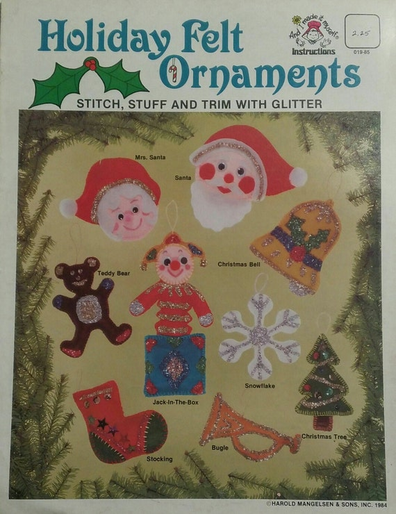Vintage Holiday Felt Ornaments Instruction Booklet, Holiday Craft ...