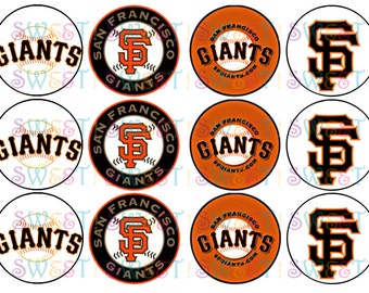 "Edible San Francisco Giants 2.5"" Round Cupcake or Cookie Toppers - Wafer Paper or Frosting Sheet"