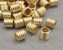 Tube Beads,Gold Charm Holder Spacer Bail Link,CCB Material Spacer Bead,Gold Hole CCB Jewelry Beads