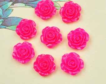 Rose Charms--50pcs Red Resin Rose Flower Charms--18mm