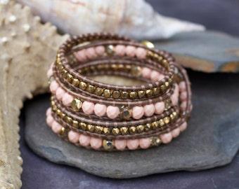 Peach and bronze wrap bracelet