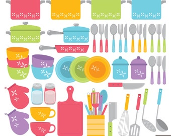 Items similar to Vintage Kitchen Cooking Utensil Clip Art in Warm ...