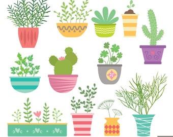 Pot Plants Digital Clipart