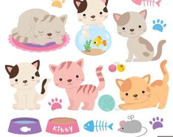 Kitties Digital Clipart, Cat Clipart
