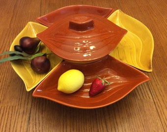 Mid-Century Lazy Susan Chip & Dip Appetizer Tray by California Pottery, Sets on Rotating Wood Base, 7 Piece Set