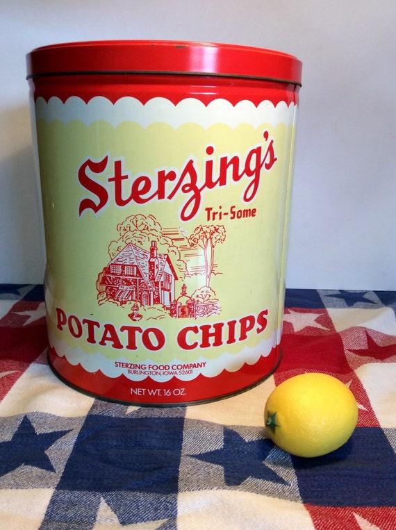 Vintage Sterzing S Potato Chip Tin
