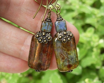 Amber and Purple Czech Glass Earrings, Lavender and Brass Dangle Earrings, Long Bohemian Earrings, Earthy Boho Chic Lilac Earrings, Gift