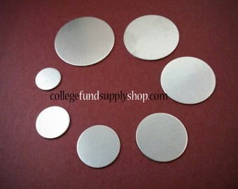 "3/8"" ALUMINUM discs, 18, 16 or 14 gauge, stamping blanks, metal discs for jewelry making, etching, hand stamping supplies"