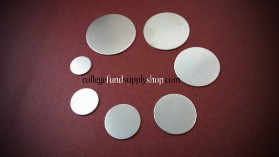 "5/8"""" ALUMINUM 18 gauge, SETS OF 3 stamping discs,  5/8"" round blank, disc for etching, metal supply shop, jewelry supply, hand stamping"