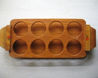 Vintage tray wooden for 8 glasses 1950 your zip code for real charge S V P