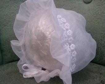 Baby Bonnet Christening Baptism Girl Organza -