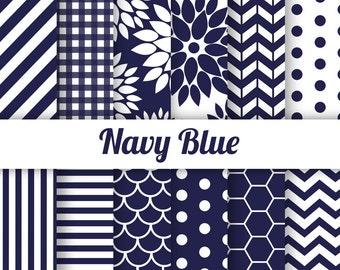 50% OFF Navy Digital Paper Scrapbook Paper Navy White Chevron Navy Polka Dots Navy Scallop Navy Dahlia 12x12, 8.5x11 inches
