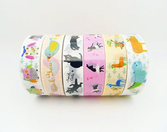 Cute Plastic Tape Set of 6 Rolls - 10m,Animal Tape,Circus Tape,Diary Tape