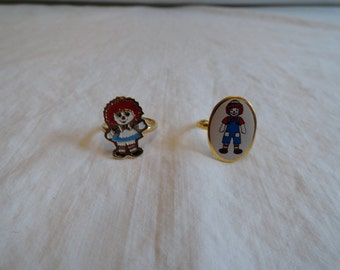 Raggedy Ann and Andy Adjustable Rings