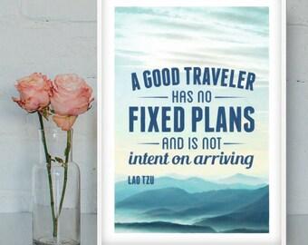 Lao Tzu - A good traveler, Lao Tzu poster, Zen print, Zen printable, Inspirational quote, Zen art, Zen Quotes, INSTANT DOWNLOAD