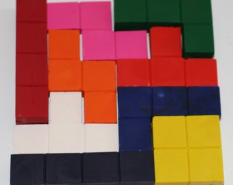 Tetris inspired Crayons Set of 9. Tetris party favor, block party favors. Tetris theme Tetris gift