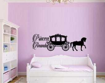 Prncess, with horse and Cariage (Custom Name) ~ Popular Characters, Wall Decal
