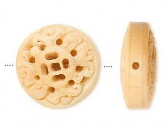 Antiqued Carved Bone, 29mm round puffed flat with floral cut out, 1 pc, D663
