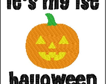 Baby Kids 1st first halloween Embroidery Design combo