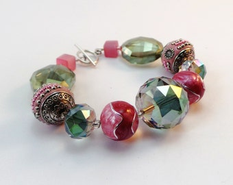 Pink and green bead bracelet