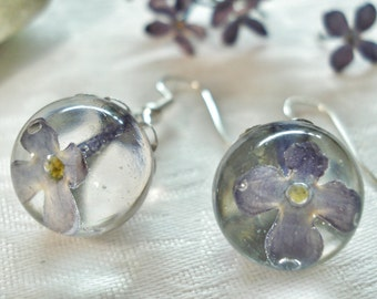 Earrings with lilac - Balls of resin jewelry - silver Plated fittings