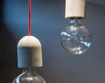Concrete Pendant Lamp with Concrete Lamp Holder  and fabric cable