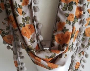 New -Purpl Cotton Scarf with Pompom-flowered scarf-a stylish accessory
