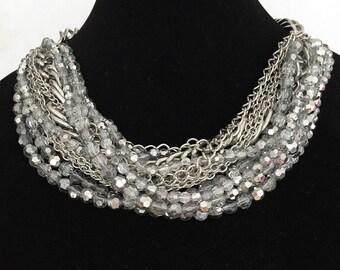Big, fashionable extravagant silver grey necklace!