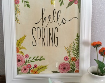 Hello Spring Hand Painted Watercolor and Ink Wall Art