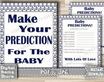 Baby Shower Nautical Anchor Predictions for baby sign and card - Printable Predictions Anchor Sign Card Blue - Instant Download - na1