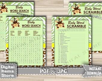 Printable Monkey Word Scramble Word Search - Baby Shower Word Scramble Game Jungle, Word Search Game Monkey, Green - Instant Download - jm1