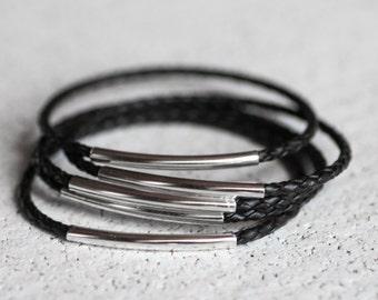 Black braided leather bangles, set of 5 bracelets