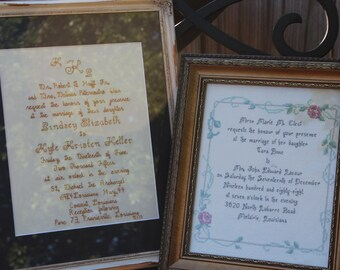 Personalized Wedding Gift cross stitched Invitation