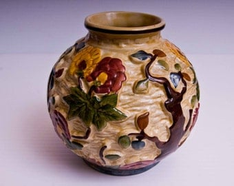 H J Woods Indian Tree Handpainted Ceramic vase.  Staffordshire Vintage Ceramic.