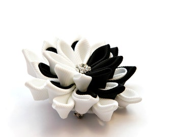 Kanzashi flower brooch, black and white, kanzashi brooch, fabric brooch,  ladies brooch