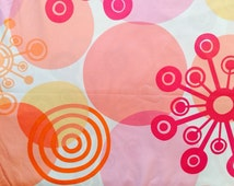 Peach retro fabric by the yard, large print geometric fabric, pink circle fabric, peach cotton fabric for girls, quilt fabric yardage