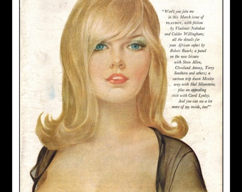 Vargas Playboy Pinup Girl Vintage March 1965 Cover Sexy Blonde Nude Mature Wall Art Deco Print