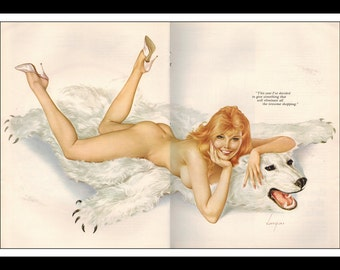"""Vargas Playboy Pinup Girl Vintage December 1967 """"Shopping"""" Sexy Redhead Nude Mature Bear Rug 2 Page Pinup Wall Art Deco Print"""