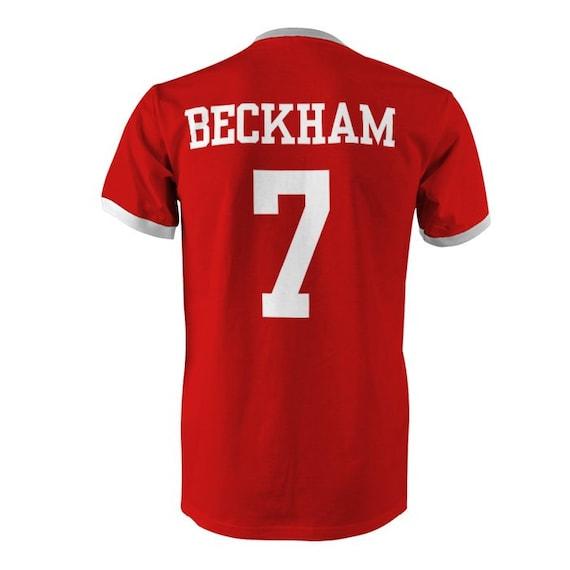 David beckham 7 england football ringer t shirt red white for David beckham t shirt brand