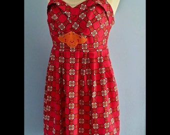 African print Vintage 1950s style tea dress bright pink rockability size 12-14