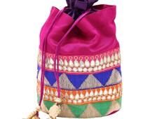 JaipurSe Women's Indian Jaipuri Ethnic Gota Patti Multicolor Silk Wedding Party Potli Drawstring Pouch Bag (JSBG148)