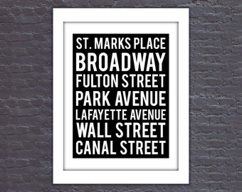 New York City Streets Poster, NYC Poster, Manhattan Poster, NYC Streets, NYC Digital Art